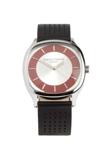 Simon Carter Herren Armbanduhr Analog Leder schwarz WT2002 Red