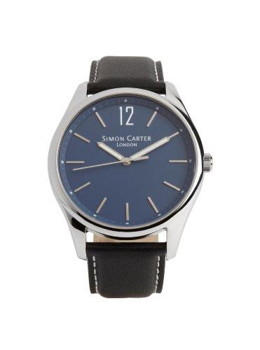 Simon Carter Herren Armbanduhr WT2003 Blue Analog Leder schwarz WT2003 Blue