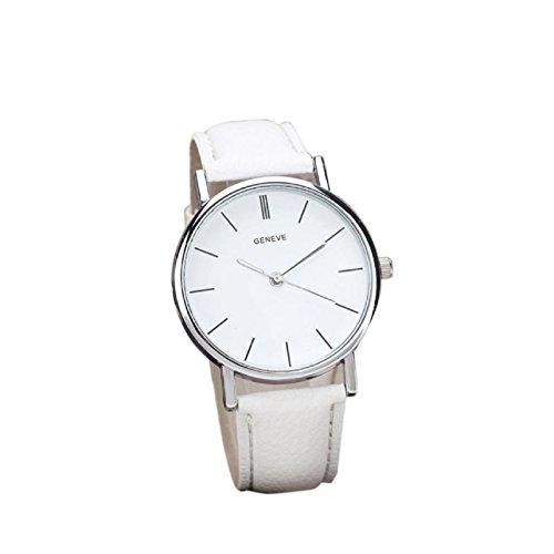 Ulamra Damen Elegant Classic Vintage Uhr Lederband Analoge Legierung Weiss