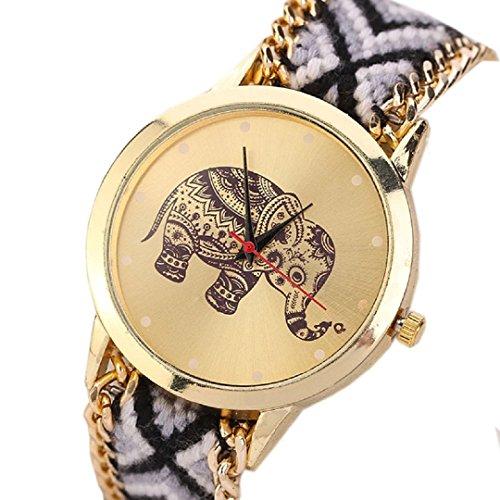 Ularma Damen Armband Uhr Retro Elefanten Muster Exquisit Analog Quarz Uhr Golden Zifferblatt schwarz