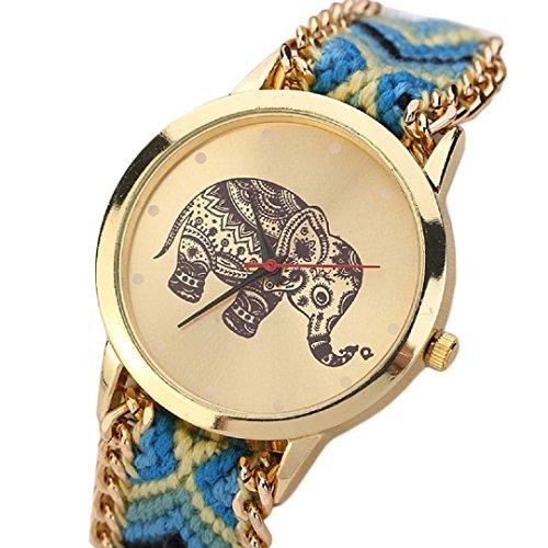 Ularma Damen Armband Uhr Retro Elefanten Muster Exquisit Analog Quarz Uhr Golden Zifferblatt Gelb Blau