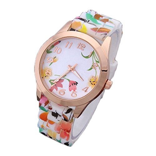 Ularma Mode Arabische Ziffern Silikon Armband Analog Quarz Uhr mit schoenen Blumen Orange