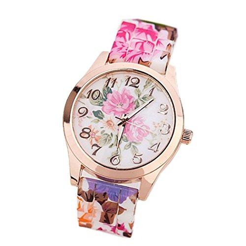 Ularma Mode Arabische Ziffern Silikon Armband Analog Quarz Uhr mit schoenen Blumen Hot Pink