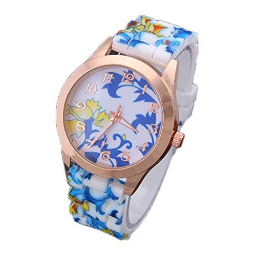 Ularma Mode Arabische Ziffern Silikon Armband Analog Quarz Uhr mit schoenen Blumen Blau