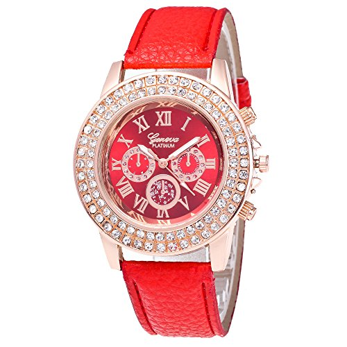 Ularma 39mm Charmant Strass PU Lederband Quarz Uhr Rot