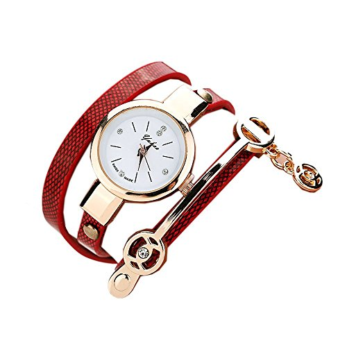 Ularma Mode Exquisit Armband Analog Quarz Uhr Weisses Zifferblatt rot Band