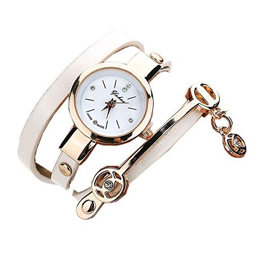 Ularma Mode Exquisit Armband Analog Quarz Uhr Weisses Zifferblatt weiss Band