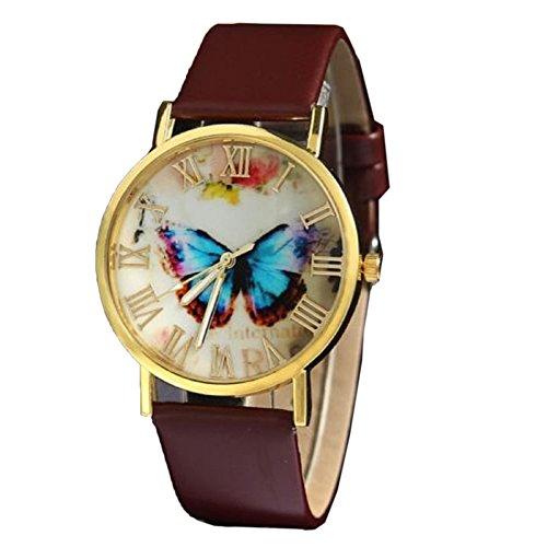 Ularma Frauen Schmetterling Muster Zifferblatt mit Roemische Zahlen Kunstleder Armband Uhr Brauen