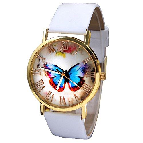 Ularma Frauen Schmetterling Muster Zifferblatt mit Roemische Zahlen Kunstleder Armband Uhr weiss