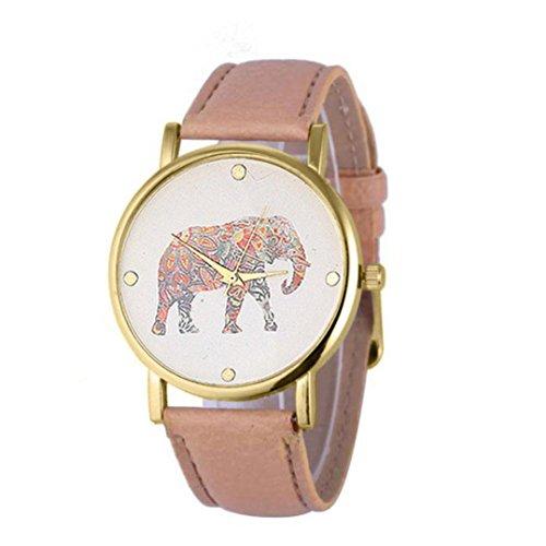 Ularma Damen ArmbandUhr Vintage Einfach Elefant Zifferblatt Analog Quarz Uhr Beige Leder Band