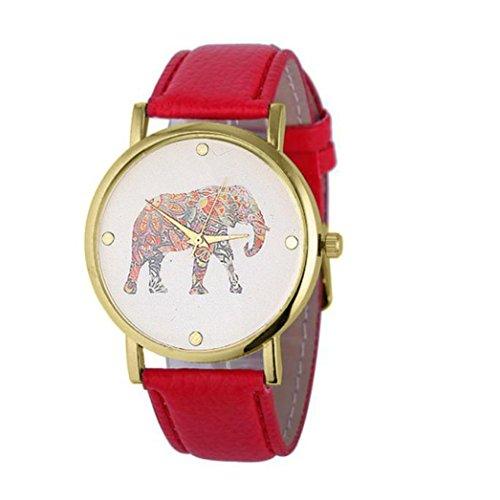 Ularma Vintage Einfach Elefant Zifferblatt Analog Quarz Uhr Rot Leder Band