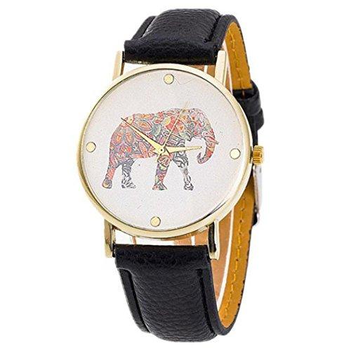 Ularma Damen ArmbandUhr Vintage Einfach Elefant Zifferblatt Analog Quarz Uhr Schwarz Leder Band