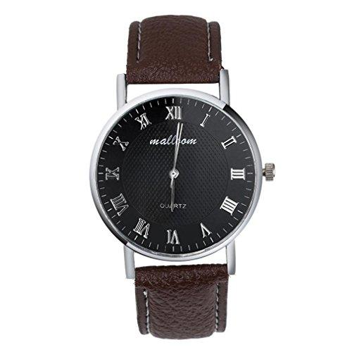Ularma Herren Armbanduhr Vintage Klassisch Analog Quarz Uhr Roemische Ziffern PU Leder Band A