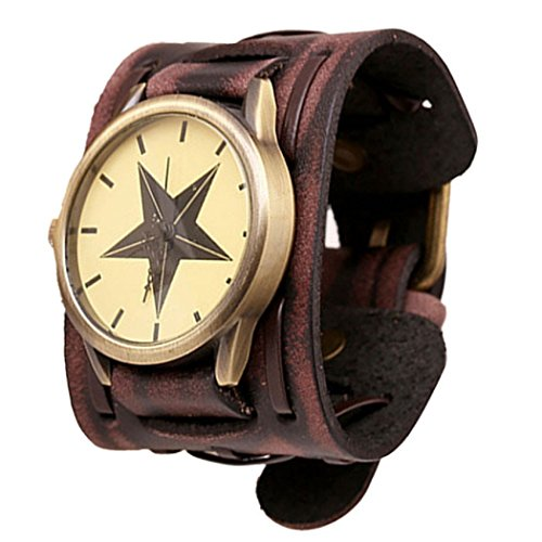 Ularma Unisex Punk Armbanduhr Vintage Quarz Uhr Kunstleder Band Stern Armband braun