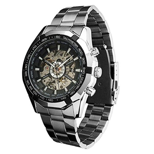 Ularma Herren Automatik mechanisch Uhr Edelstahl Automatikuhren Silber Armbanduhr schwarz