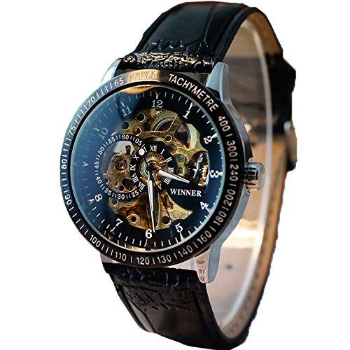 Ularma Herren Maenner hohl Skelett automatische mechanische Edelstahl Armbanduhr schwarz