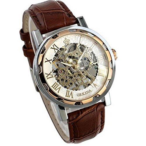 Ularma Herren Automatische Uhr mechanische Uhr mit Huebsch Roemische Zifferblatt Braun PU Leder Armband
