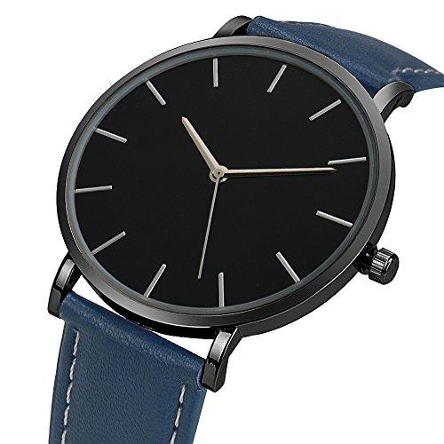Ularma Herren Classic Ultra Duenn Einfach Analog Quarz Uhr Armbanduhr Schwarz PU Leder Blau