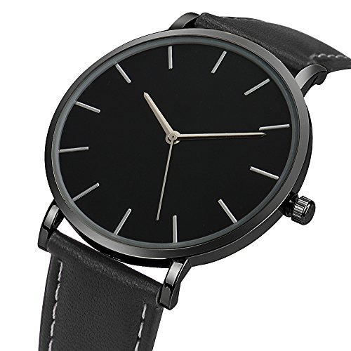 Ularma Herren Classic Ultra Duenn Einfach Analog Quarz Uhr Armbanduhr Schwarz PU Leder
