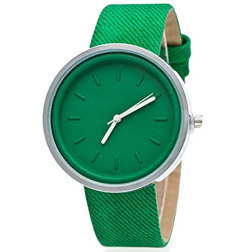 Ularma Damen Candy Farben Rund Quarz Uhr PU Denim Armbanduhr Gruen