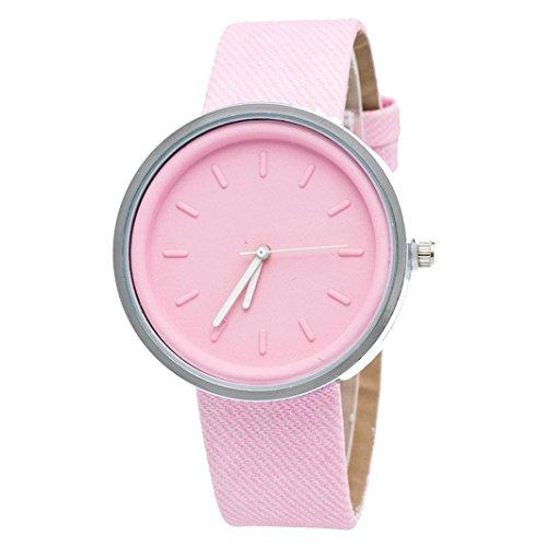 Ularma Damen Candy Farben Rund Quarz Uhr PU Denim Armbanduhr Pink