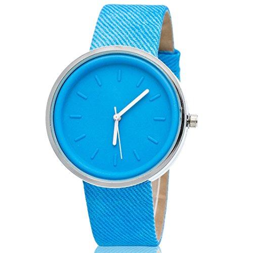 Ularma Damen Candy Farben Rund Quarz Uhr PU Denim Armbanduhr Himmelblau