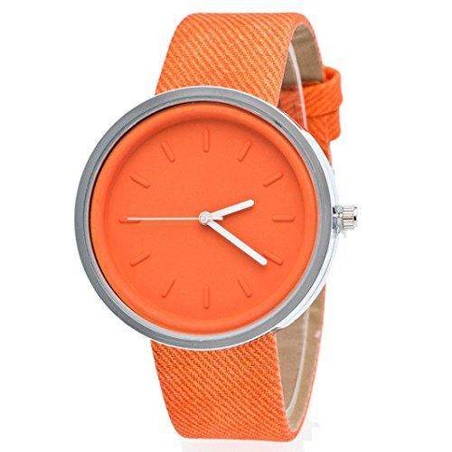 Ularma Damen Candy Farben Rund Quarz Uhr PU Denim Armbanduhr Orange