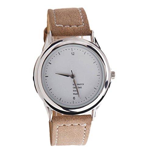 Ularma Damen Modisch Quarz Uhr Kunstleder Band Armbanduhr braun