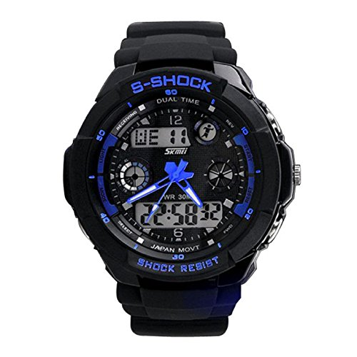 Ularma Sportuhr Dual Display Digital Quarz Uhr Wasserdicht Multifunktion Analog LCD Sport Uhr Alarmuhr Cool Armbanduhr blau