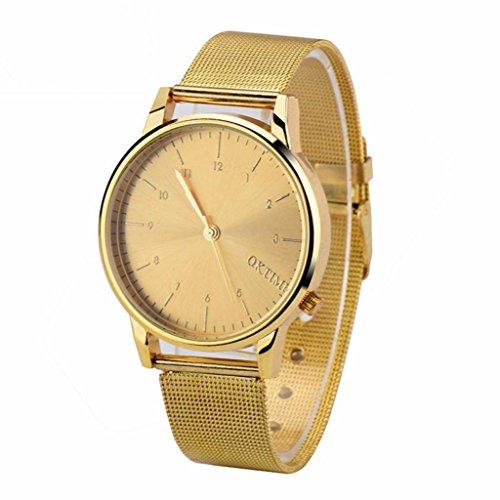 Ularma Herren Modisch Einfach Analog Quarz Uhr Metall Band Armbanduhr Golden