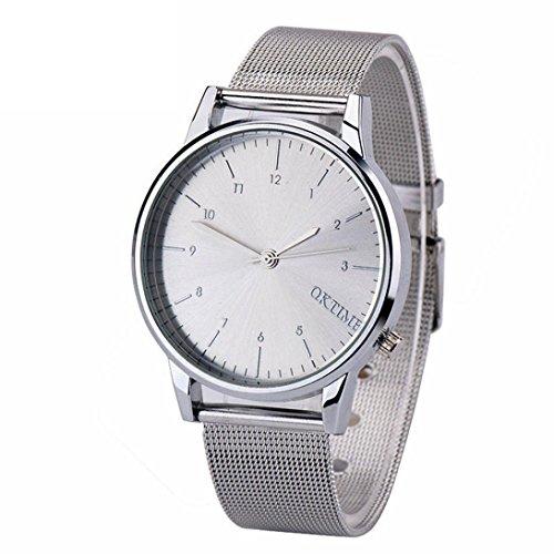 Ularma Herren Modisch Einfach Analog Quarz Uhr Metall Band Armbanduhr Silber