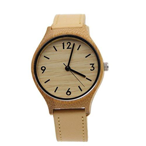 Ularma Uhr Leder Band Bambus Holz Quarz Analog Armbanduhr