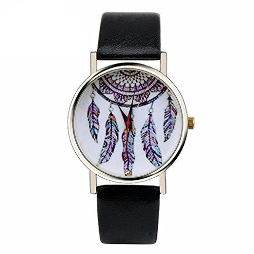 Ularma Damen Maedchen Armbanduhr Dream Catcher Quarzuhr 2cm Breit PU Leder Armband schwarz