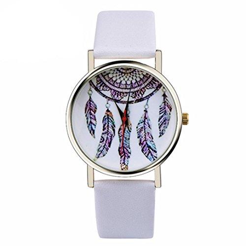 Ularma Damen Maedchen Armbanduhr Dream Catcher Quarzuhr 2cm Breit PU Leder Armband weiss