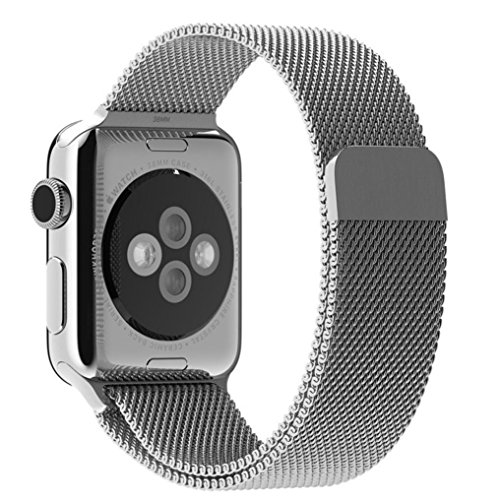 Ularma Magnetische Loop Edelstahl Uhrenarmband Armband fuer iWatch 42mm Breit Silber