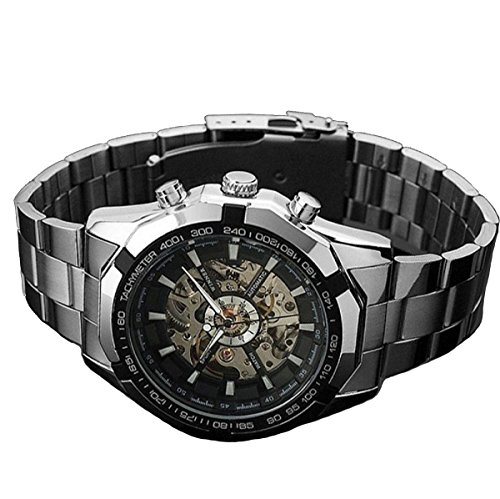 Ularma Herren Automatik mechanisch Uhr Edelstahl Automatikuhren Silber Armbanduhr Skelett Zifferblatt schwarz