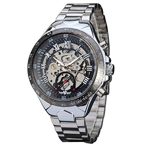 Ularma Herren Mechanische Uhr Edelstahl Automatikuhren Silber Armbanduhr