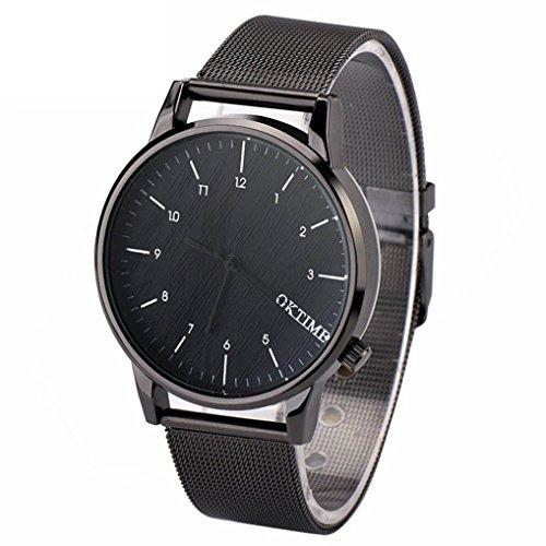 Ularma Herren Modisch Einfach Analog Quarz Uhr Metall Band Armbanduhr schwarz