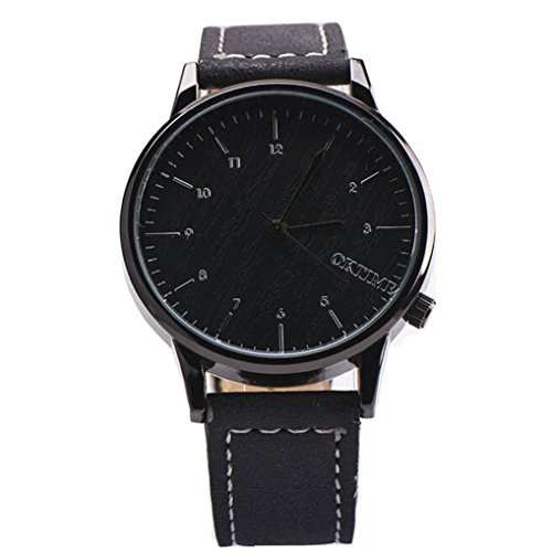 Ularma Herren Modisch Einfach Quarz Uhr Kunstleder Band Armbanduhr schwarz