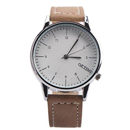 Ularma Herren Modisch Einfach Quarz Uhr Kunstleder Band Armbanduhr Braun