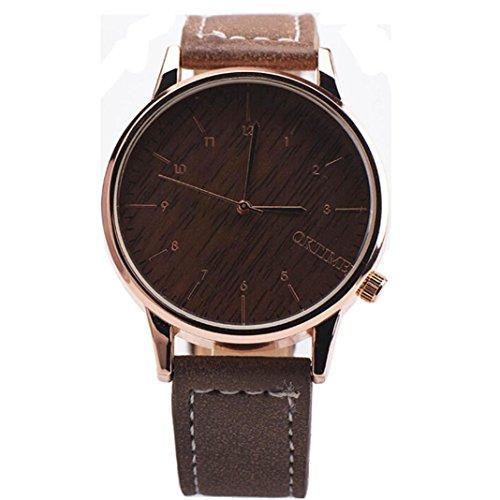 Ularma Herren Modisch Einfach Quarz Uhr Kunstleder Band Armbanduhr kaffee