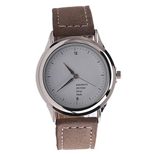 Ularma Damen Modisch Quarz Uhr Kunstleder Band Armbanduhr kaffee