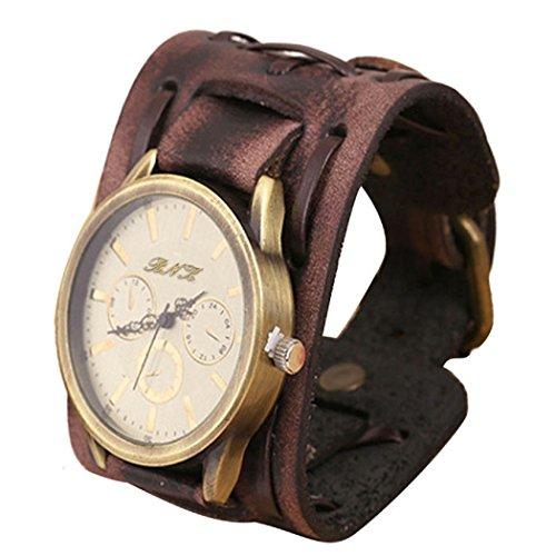 Ularma Unisex Punk Armbanduhr Vintage Quarz Uhr Kunstleder Band braun