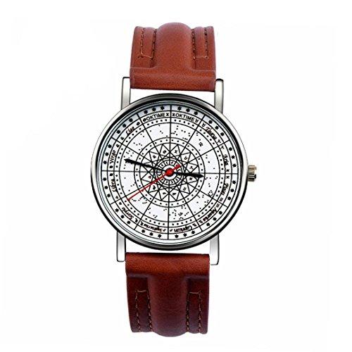 Ularma Unisex Vintage Analog Quarz Uhr Kunstleder Band Armbanduhr CO