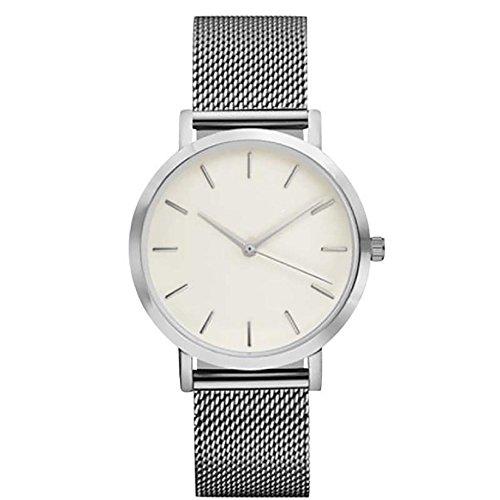 Ulamra Damen Wunderschoene Minimalist Uhr Edelstahl Mesh Armband Analoge Silber