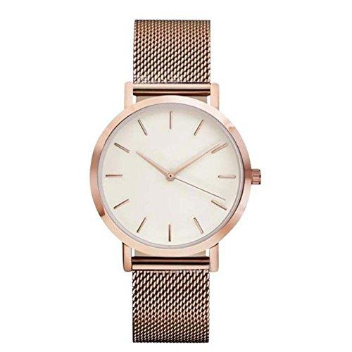 Ulamra Damen Wunderschoene Minimalist Uhr Edelstahl Mesh Armband Analoge Quarz Armbanduhr Rosegold