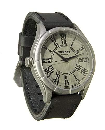Welder Herren Armbanduhr mit weissem Zifferblatt Analog-Anzeige und schwarz Lederband K21-502