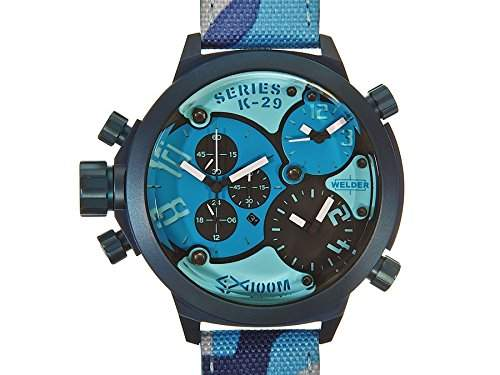 Welder by U-Boat K29 Triple Time Zone Chronograph Blue Steel Mens Sport Watch Camouflage Strap K29-8006