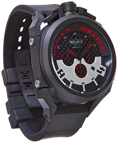 Welder K36-2401 Herren-Quarzarmbanduhr mit schwarzem Zifferblatt und schwarzem Gummiarmband