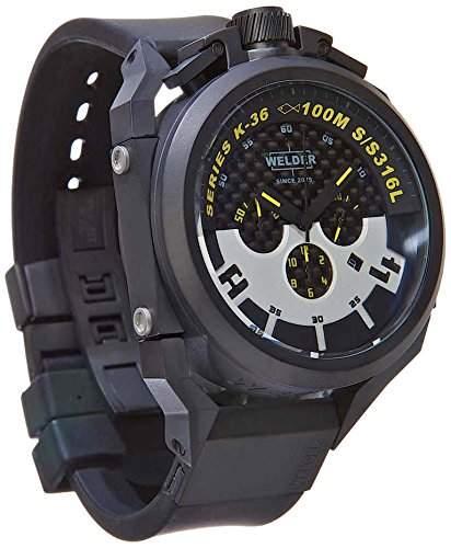 Welder Herren Armbanduhr Chronograph Silikonband und Zifferblatt in Schwarz K36-2402